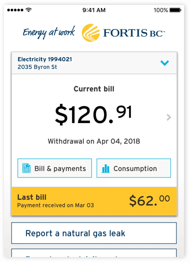 FortisBC mobile app bill payments