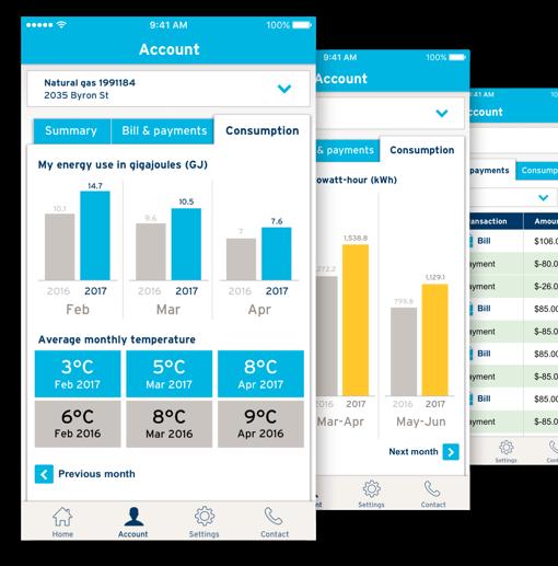 FortisBC mobile app account screens
