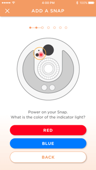 "Sengled mobile app showing the ""Add a snap"" UI screen"