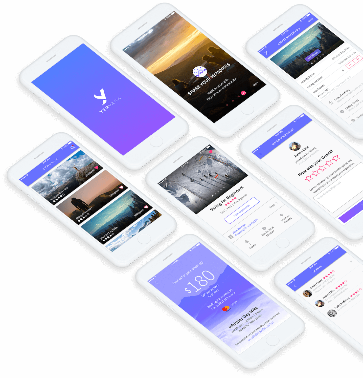 A collage of Yervana app UI screens on mobile devices