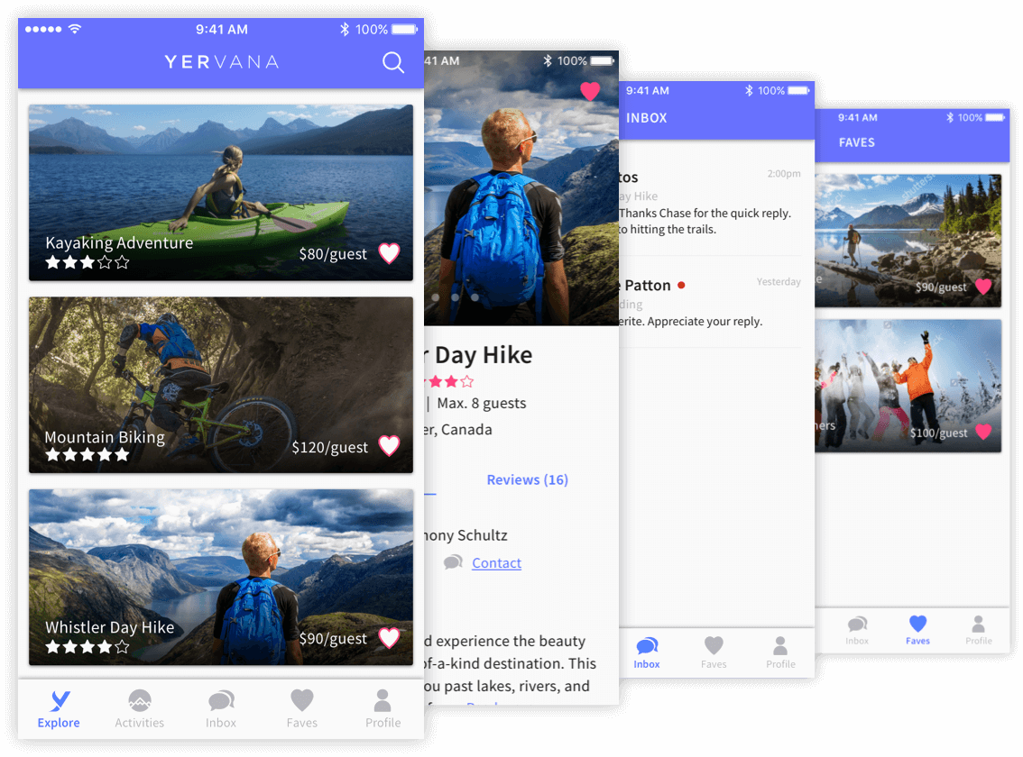 Yervana mobile app UI screens for guests