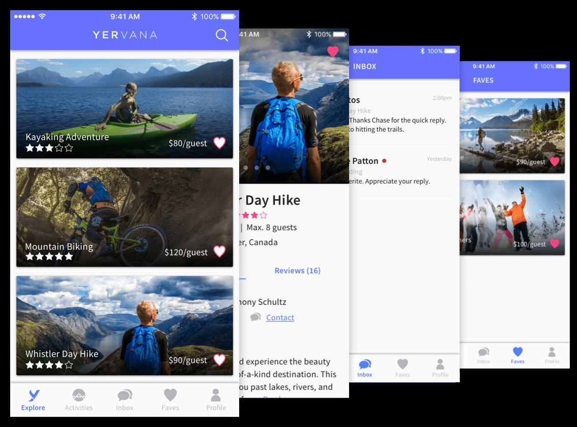 Yervana mobile app UI screens for guests